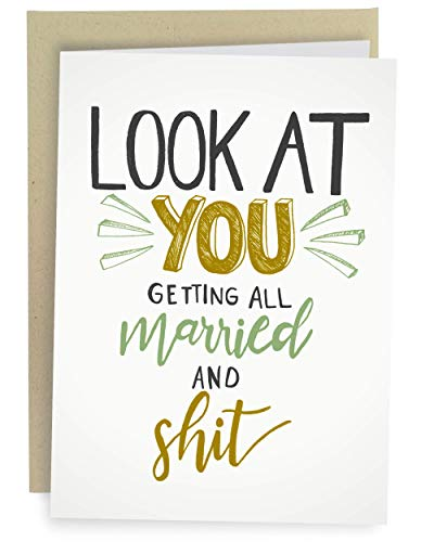 Sleazy Greetings Funny Wedding Card For Marriage Engagement - Adult Humor Dirty Wedding Congratulations Card (Married And Shit)