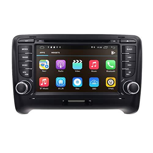 Android 10 7 Pulgadas 2 DIN Car Stereo Radio Se Adapta a Audi TT MK2 2006 2007 2008 2010 2010 2012 2013 Soporte GPS Navegación Reproductor de DVD Bluetooth USB SD Subwoofer 4G WiFi Dual Zone 1080P