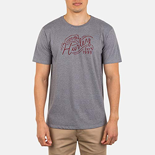 Hurley M Wavescript S/Tee-Shirts Homme DK Grey Heather FR: M (Taille Fabricant: M)