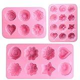 AODOOR 3 moldes de silicona con forma de flor, molde de silicona hecho a mano, molde de jabón DIY con cavidades 6/8/12, molde de silicona para mousse/chocolate/gelatina/pastel/caramelo/pan/muffins