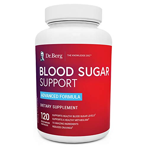 Dr. Berg's Healthy Blood Sugar Support Supplement - 10 Powerful Ingredients - Helps with Cravings, 120 Capsules