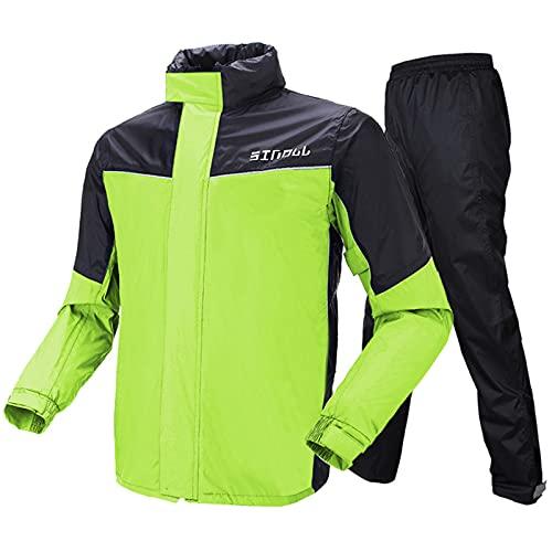 Motorrad Kombi - Regenkombi für Männer Frauen Regenbekleidung Regenanzug mit reflektierenden Streifen(M,Grün)