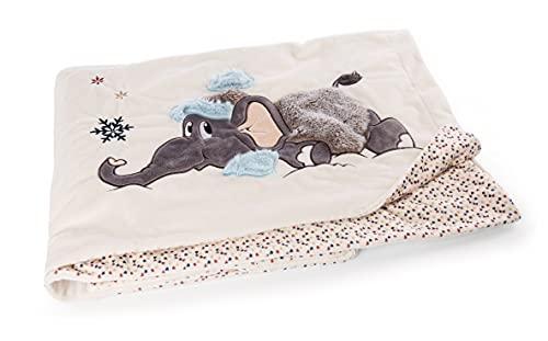 NICI 47296 Elefant 140 x 175cm – Kuscheldecke für Babys & Kinder – Flauschige Plüschdecke mit Wintermotiv I Warme Decke Mädchen & Jungen – Winter Flauschdecke/Sofadecke, beige/bunt