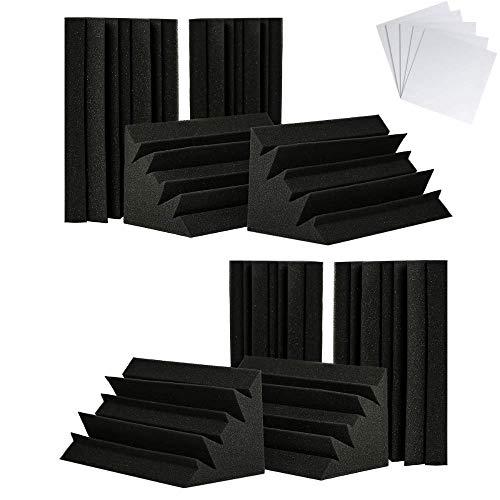 "TRUE NORTH Bass Traps w/Adhesive 8 Pack (12""x6""x6"") - Acoustic Bass Trap Corner, Bass Acoustic Foam, Bass Traps Corner Foam, Recording Studio Foam, Acoustic Treatment Panels, Bass Traps Studio Foam"