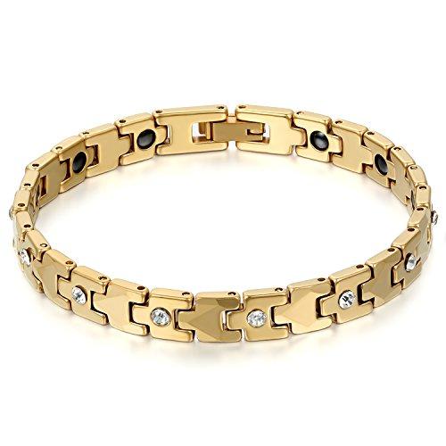 JewelryWe Schmuck Damen Armband, Magnet Therapie Kugel Perle Perlen Wolframcarbid Wolfram Armreif Link Handgelenk Strass Gold