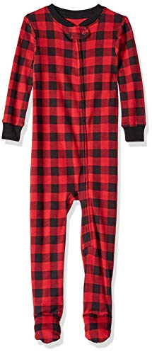 Amazon Essentials Zip-Front Footed Sleeper Infant-and-Toddler-Bodysuit-Footies, Cuadros Búfalo, 12-18 Meses