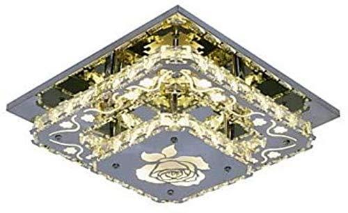 Kronleuchter Lampen-Deckenleuchte Kristall-Pendelleuchte Ambient Light Chrom-Metall-Kristall, LED 90-240V Gelb for Küche und Esszimmer, 30 X 30 cm Hängeleuchte