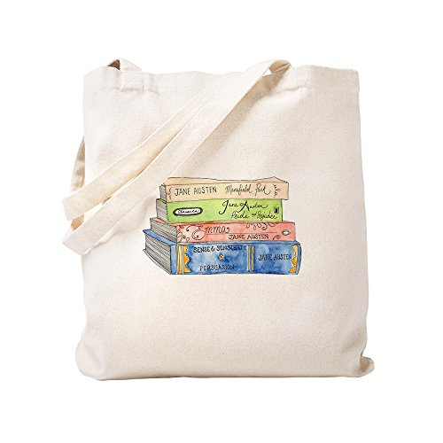 CafePress Jane Austen - Bolsa para libros, lona, caqui, small