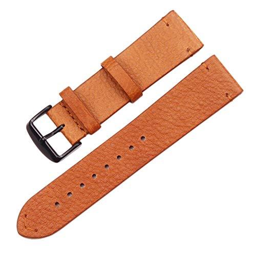 Correas Para Relojes Reloj de cuero genuino 18 mm 20 mm 22 mm marrón claro marrón oscuro reloj de reloj de reloj de reloj Correas De Reloj ( Band Color : Brown black buckle , Band Width : 22mm )