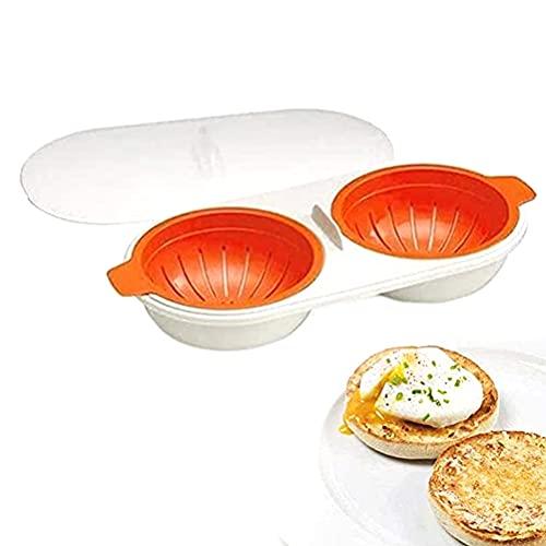 PIVOT Eierkocher Mikrowelle, Eier Pochierer Mikrowelle, Doppelbecher Eierkocher Ei Gadget Antihaft-Schnell-Ei-Dampfgarer Kochform mit Deckel Passend für Küchenmikrowelle verwenden