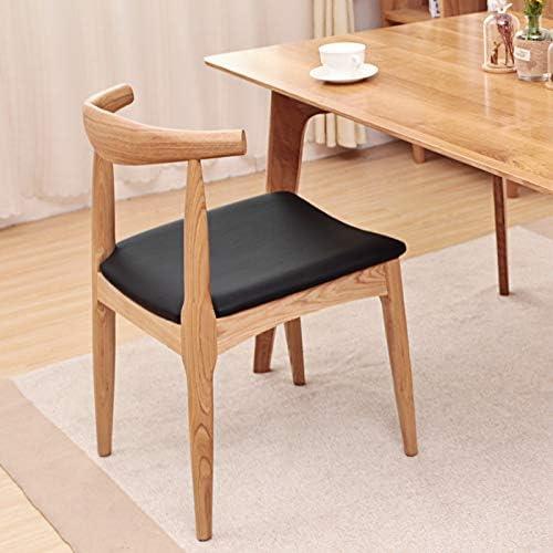 Wuzhengzhijie Chaise de Salle à Manger en Bois Solide de Maison Solide de Salle à Manger de Chaise avec Le Dossier (Color : Brown+Brown White Cloth Cushion) Brown