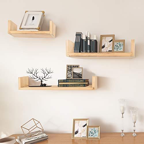 AUFHELLEN Wandregal aus Holz 3er Set Natur Schweberegal in U-Form für Foto-, Bilderramen oder Bücher in Wohn-, Schlaf-, oder Kinderzimmer Deco als Geschenk für Weihnachten oder Geburstag