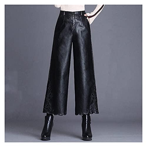 SSMDYLYM Adatto a cerniera a vita alta moda a vita alta PU. Pantaloni da gamba in pelle da donna casual (Color : Black, Size : XX-Large)