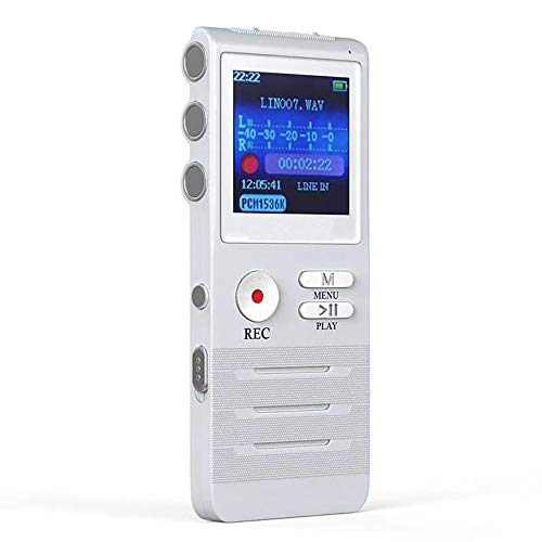 LZZ Digitaler Voice Activated Recorder, Doppelmikrofon-HD-Aufnahme, 8 GB Speicher, Noise Cancelling, hochwertiges Metallgehäuse-Diktiergerät