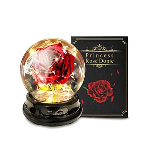 Cubierta de cristal de rosa de flor artificial, guarda la belleza de la rosa y la creatividad de la bestia en la cúpula de vidrio para múltiples propósitos en el hogar / oficina o decoración del hogar