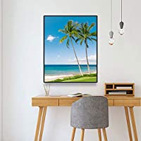 キャンバスペインティング 家の装飾トロピカルビーチの風景壁アートキャンバス絵画北欧のポスターとプリント壁の写真リビングルームの装飾 50x75cm