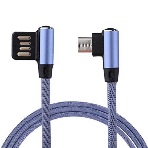 Para USB DJM 1M 2.4A Salida USB a Micro USB Double Codo de diseño Nylon Weave Style Data Sync Sync Cable de carga, para Samsung, Huawei, Xiaomi, HTC, LG, Sony, Lenovo y otros teléfonos inteligentes (N