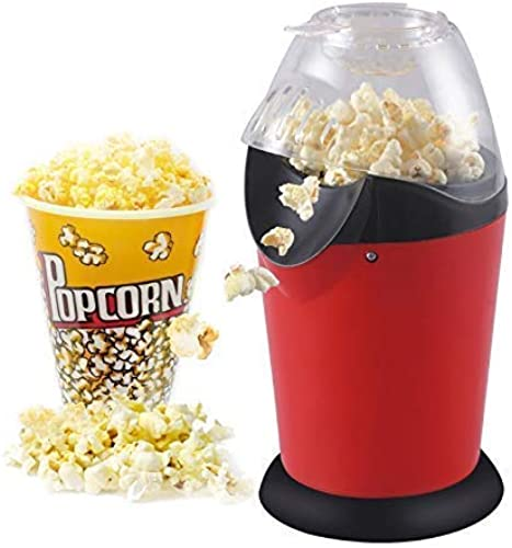 KRISHA Electric Popcorn Maker Machine Snack Maker Hot Air Popcorn with Measuring Cup and Removable Lid Instant Popcorn Grade Aluminum Alloy Oil Free Popcorn Maker for Home