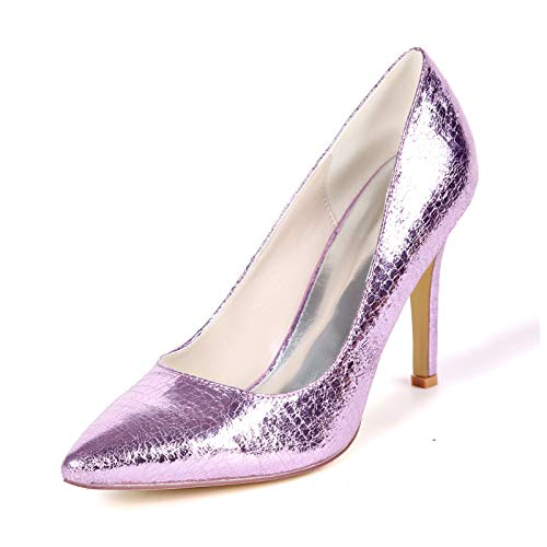 LGYKUMEG Spitze Zehen Abendschuhe,Ballsaal Party Hochzeit Sozial Pailletten Schuhe,Abendschuhe Stiletto Damenschuhe,01,EU35