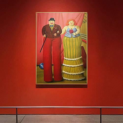 WCLGDJ Abstrakter Fernando Botero Stelzenclown Moderne Malerei Paar Poster drucken Bunte Wandkunst Bilder für Wohnzimmer Gang Berühmt 50x70cm Rahmenlos