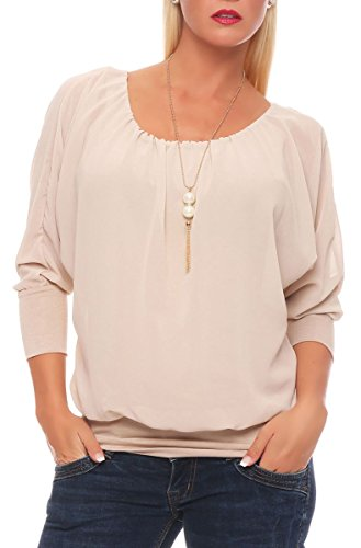 Malito Damen Bluse mit passender Kette   Tunika mit ¾ Armen   Blusenshirt mit breitem Bund   Elegant - Shirt 1133 (beige)