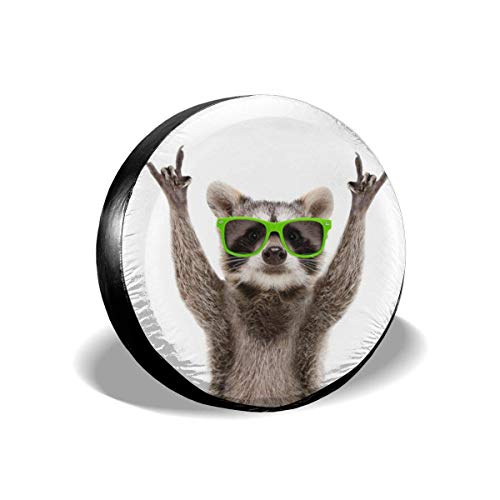 AEMAPE Cubierta para llanta de Repuesto, Divertidas Gafas de Sol en Verde Mapache con Animales de Roca, Cubiertas de Ruedas Impermeables a Prueba de Polvo