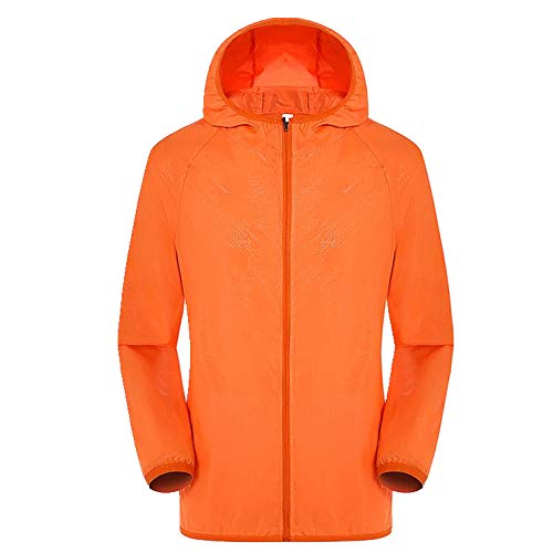 Imperméable à l'eau Veste de Pluie Hommes Femmes Coupe-Vent Casual Veste Coupe-Vent Ultra-Léger Coupe-Vent Coupe-Vent Manteau de Pluie - Orange - L