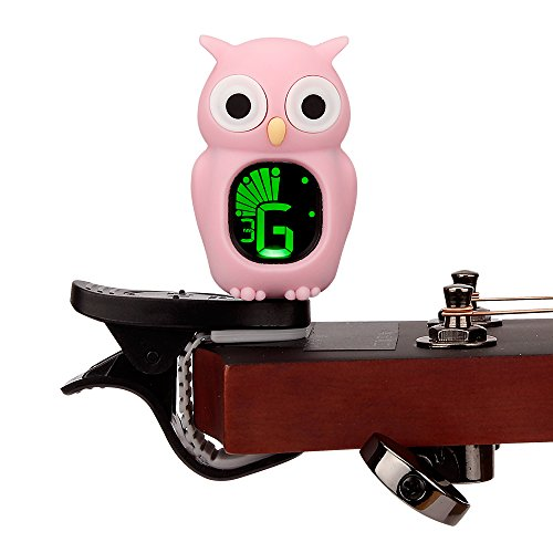 Swiff Cartoon Clip on Acoustic Guitar Bass Tuner (Owl, Pink)