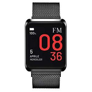 Florence Marlen FM1S Nápoles | Diseñado en Italia | 2 Correas |Smartwatch Hombre-Mujer Malla Milanesa Negra |Reloj… 10