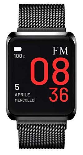 FLORENCE MARLEN FM1S Napoli | Disegnato In Italia | 2 CINTURINI | Smartwatch Uomo-Donna Maglia Milanese Nera | Orologio, Water-Resistant | Cardiofrequenzimetro, Contapassi, Notifiche | IOS & Android