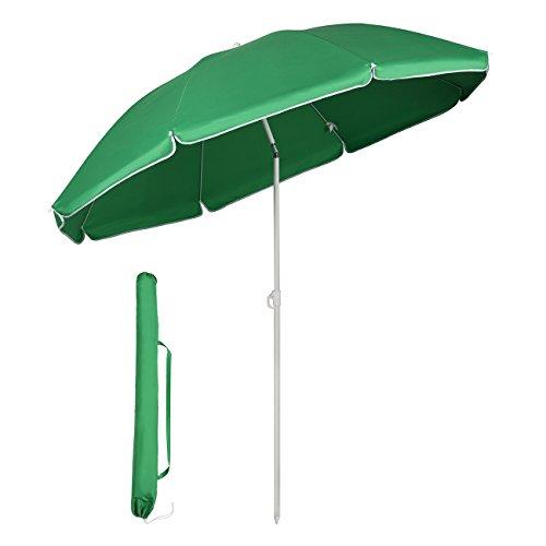 Sekey® Parasol Ø 160 cm inclinable pour Patio Jardin Balcon Piscine Plage Vert Rond Sunscreen UV20+