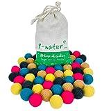8-Natur Mezcla de colores de 50 bolas de fieltro de 2,2 cm de grosor de pura lana de merino para manualidades de guirnaldas, móviles y alfombra de bolas de fieltro o simplemente para decoración.