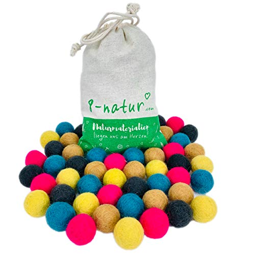 8-Natur 'Mix Mobile' colourful mix of 50 felt balls 2.2 cm thick made of pure merino wool for crafting garlands, baby mobile and felt ball carpet or just for decoration.
