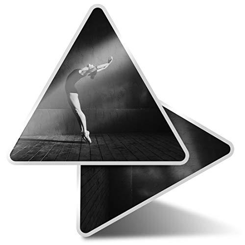 2 pegatinas triangulares de 7,5 cm – BW – Calcomanías profesionales para bailarinas de ballet para portátiles, tabletas, equipaje, reserva de chatarra, neveras #37629