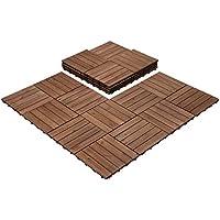 27-Piece Easyfashion 12 Inch x 12 Inch Interlocking Wooden Floor Tiles (Brown)
