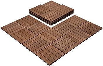 27-Piece Easyfashion 12 x 12 Inch Interlocking Wooden Floor Tiles