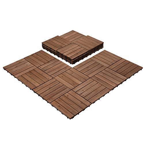 Yaheetech Interlocking Patio Deck Tiles 12 x 12in 27PCS Wood Floor Tiles Outdoor Flooring for Patio Garden Deck Poolside Brown