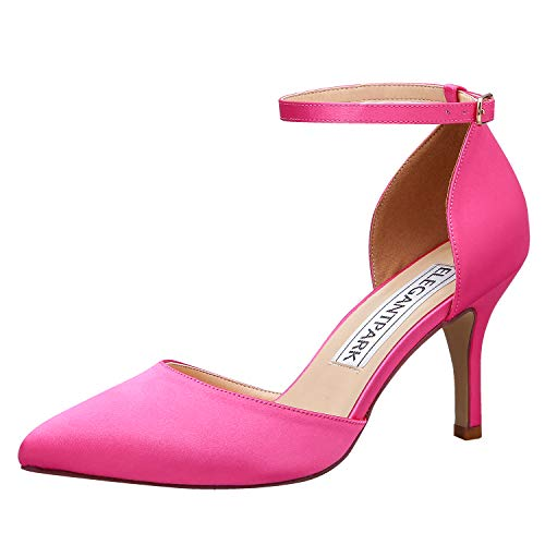 ElegantPark HC1811 Hot Pink Heels Ankle Strap High Heels for Women Pointed Toe Shoes for Heels and Pumps D'Orsay Satin Wedding Evening Party Prom Dress Shoes US 7