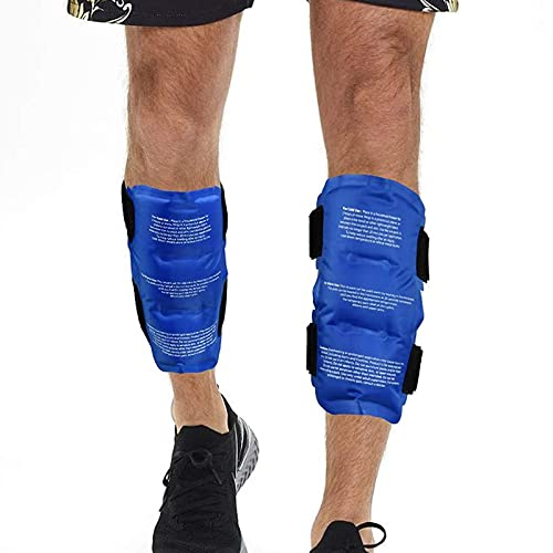 """Tutmyrea 2 Pack Gel Ice Pack for Legs, Reusable Hot & Cold Pack for Shin Splints Injuries with Straps, Flexible Ice Pack Cold Compress for Runners Dancers, Calf Swelling Bruises Pain Relief 8.3""""x5.9"""""""