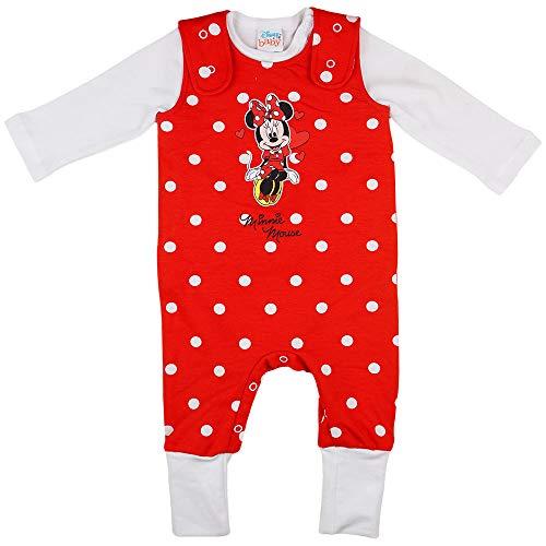 Minnie Mouse Latzhose-Set Strampler-Set für Mädchen Disney Baby in Größe 56 62 68 74 80 86 Baumwolle Rot mit Body und mitwachsende Baby-Harem-Hose Größe 68/74