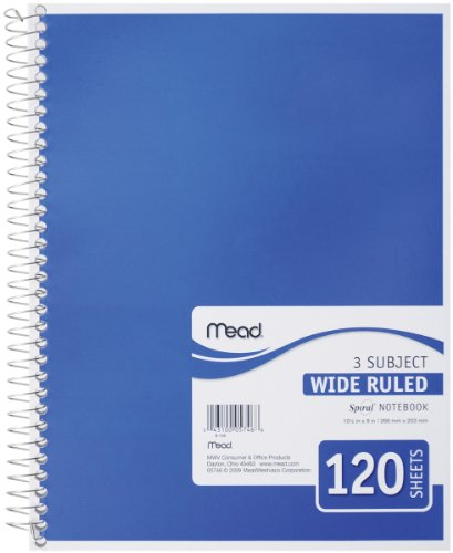 Mead Spiral Notebook, 3 Subject, Wide Ruled Paper, 120 Sheets, 10-1/2 x 7-1/2 inches, Color Selected For You (05746)
