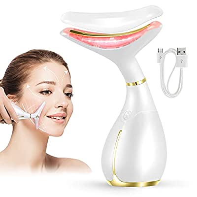 Ms.W Face Massager, Skin Tightening Face Lift Beauty Products For Women, V-Shaped Firming Beauty Toning Devices, 45℃ ± 5℃ Heat Anti Aging Wrinkle Facial Massager, 3 Modes, USB Rechargeable by Shenzhen Sist Technology Co Ltd