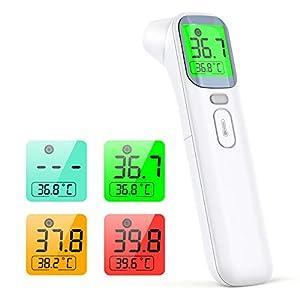 konjac termometro infrarrojos, termómetro digital termómetro sin contacto, modo 4 en 1 para medir el frente y oído, adultos y niños, con función de memoria de alarma de fiebre y pantalla LCD