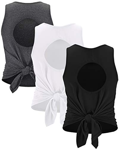 RUNNING GIRL Workout Tank Tops for Women Sexy Open Back Sleeveless Yoga Tops Loose Fit Mesh 3Pack Athletic Shirts(BX2461 3PACK,S)