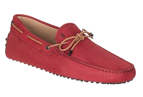 Tod's Men's Red Nubuck Leather Gommino Driving Moccasin Loafer Shoes, Red, IT 7.5 / US 8.5