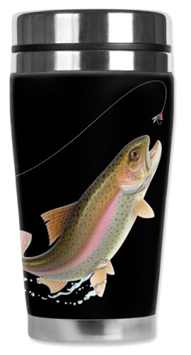 Mugzie Leaping Fish Travel Mug with Insulated Wetsuit Cover, 16 oz, Black