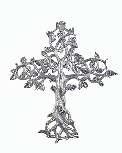 "Decorative Tree of Life Metal Wall Cross Spiritual Decorations For Home - Religious Hanging Cross Wall Decor, Best For Home And As A Gift - Silver Nickel Finish Wall Art, 14.25"" x 16"" by ABY DECOR"