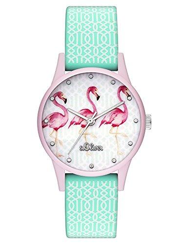 s.Oliver Damen Analog Quarz Uhr mit Silikon Armband SO-3513-PQ