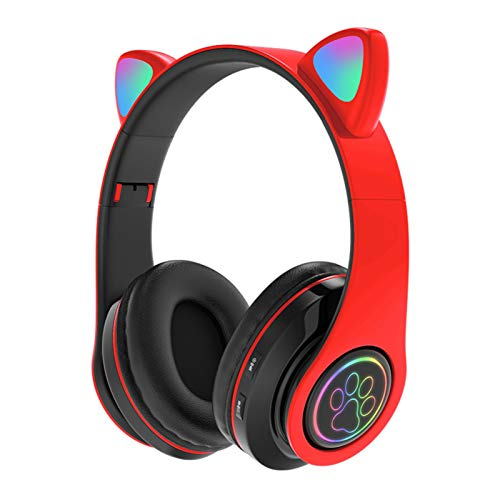 Auriculares inalámbricos Bluetooth 5.0 con forma de oreja de gato luminosos, auriculares deportivos con cancelación de ruido, con micrófono, larga espera, trabajo por tarjeta, Bluetooth o cable