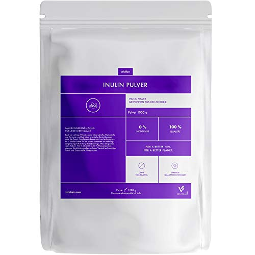 Inulin Pulver - Hochdosiertes Inulin aus der Zichorie - 1000 g - 5mg pro Tagesdosis - Vegan - Ohne Magnesiumstearat - German Quality